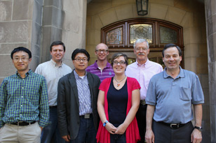 From left, Liang-shi Li, Steven Tait, Dongwhan Lee, Amar Flood, Sara Skrabalak, David Bish and David Baxter. Not pictured, Lyudmila Bronstein.