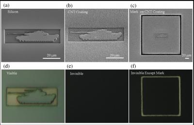 Scanning electron microscope images show a tank etched out of silicon, with and without a carbon nanotube coating (top row). When the same structures are viewed under white light with an optical microscope (bottom row), the nanotube coating camouflages the tank structure against a black background.