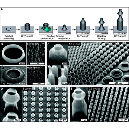 Figure CNT microstructures: Fabrication of cylindrical CNT microbellows by iteration of growth and capillary forming: (A) schematic illustration of the iterative process; (B) SEM images of a cylindrical CNT microstructure before and after capillary forming (1 cycle), with close-up images emphasizing the densification of aligned CNTs; (C�E) SEM images of microstructures after consecutive growth, forming, and growth cycles, reaching 2.5 cycles in image E.