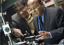 Swastik Kar, left, and Srinivas Sridhar will collaborate with the Army Research Laboratory to design graphene-based technology for use in low-cost infrared imaging applications for the military. Photo by Mary Knox Merrill.