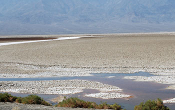 Badwater Basin, lowest elevation in the Western Hemisphere, at Death Valley National Park.