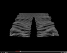 A series of computer simulations show that under stress, graphene will rip along paths that leave armchair or zigzag edges. Both types of edge favorable for particular electronic applications, said researchers at Rice University, where the simulations were carried out. (Credit: Vasilii Artyukhov/Rice University)