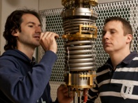 "Vienna University of Technology graduate students Hannes Winkler (left) and Andrey Sidorenko are co-authors of a new paper that sheds light on ""correlated electron effects"" in heavy fermion materials.