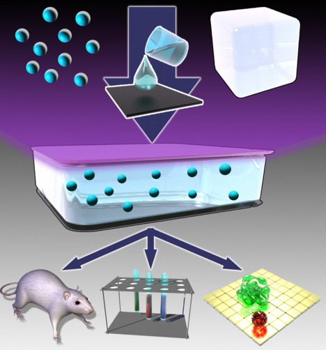 Embedding nanocrystals in glass provides a way to create UV-producing LEDs for biomedical applications. Image credit Los Alamos National Laboratory.