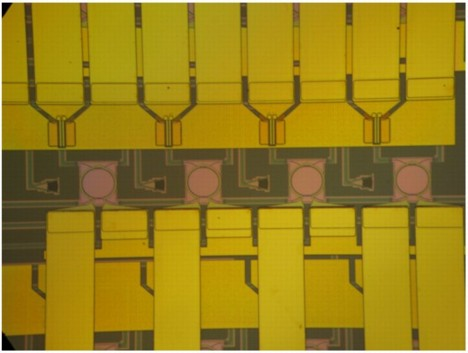BOOM: Four channel label extractor with four high-finesse ring resonators integrated with InGaAs photodetectors.