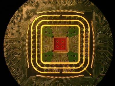 This is a photograph of the Columbia Engineering team's custom multichannel CMOS preamplifier chip, attached to a circuit board with thin gold wirebonds.