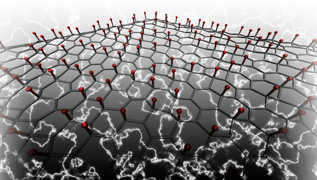 This illustration shows lithium atoms (red) adhered to a graphene lattice that will produce electricity when bent, squeezed or twisted. Conversely, the graphene will deform when an electric field is applied, opening new possibilities in nanotechnology. Illustration: Mitchell Ong, Stanford School of Engineering