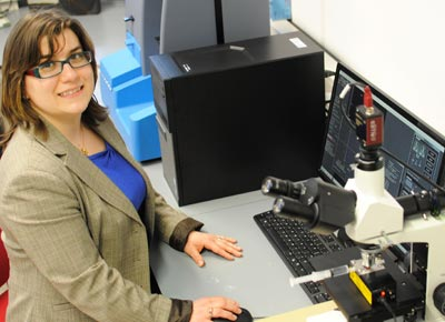 Dr Daniela Wilson with her NanoSight systems at the Radboud University in the Netherlands.