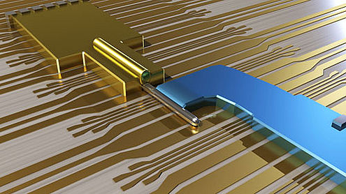 The device is made of an Indium Antemonide nanowire, covered with a Gold contact and partially covered with a Superconducting Niobium contact. The Majorana fermions are created at the end of the Nanowire.