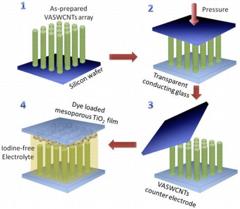 Arrays of vertically aligned single-walled carbon nanotubes (VASWCNTs) grown at Rice University are key to making better and cheaper dye-sensitized solar cells, an alternative to more expensive silicon solar cells. The arrays are transferred to conducting glass, topped with a second electrode of titanium oxide and surrounded by iodine-free electrolyte developed at Tsinghua University. (Credit: Lou Lab/Rice University)