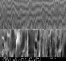 Cross-section of a new magnetoelectric composite sensor as scanned in an electron microscope: piezoelectric material (bottom half) and magnetostrictive material with integrated support layers (upper half).