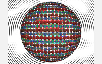 In this creative illustration, each small disc depicts actual data from computational models of nanometer-scale droplets containing liquid crystals, water and surfactants (molecules that lower the surface tensions of liquids). The different patterns show how the surfactants self-organize as they interact with liquid crystals on each droplet's surface.