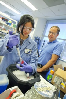 Bruce Cohen (rt) in the lab with intern Katherine Chuang.