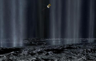 In this artist's concept, the Cassini spacecraft makes a close pass by Saturn's inner moon Enceladus to study plumes from geysers that erupt from giant fissures in the moon's southern polar region.