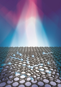 Electrons in bilayer graphene are heated by a beam of light. Illustration by Loretta Kuo and Michelle Groce, University of Maryland.