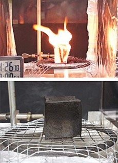 Using a testing device called a cone calorimeter, NIST researchers measure the heat-release rate and other flammability properties of materials. Above, untreated polyurethane foam 'catches fire' from a nearby heat source. Below, foam treated with a novel clay-filled coating did not ignite when exposed to the same heat source. Instead, a fast-growing protective layer called char forms on the surface.