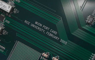 Muon Port Cards designed and built at Rice act as information funnels at the LHC, where they take in and sort 25 gigabits of data per second to generate an output of 3 gigabits.