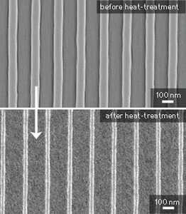 The nanoscale titania pattern before and after heat-treatment. � 2012 American Chemical Society