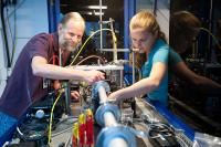 Mike Toney and Johanna Nelson demonstrate the high-power transmission X-ray Microscope at SLAC's Stanford Synchrotron Radiation Lightsource.