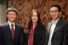 From left, Tsu-Wei Chou, Amanda Wu and Weibang Lu in Spencer Laboratory