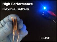 This shows a blue LED emission operated by flexible solid state battery.