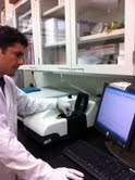 Mr Van Ortega, a graduate student in Professor Goss' lab operating the Malvern Instruments Zetasizer Nano DLS system.