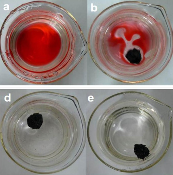 Absorption of dodecane marked with red dye from artificial seawater using the graphene sponge. The absorption process was complete in 80 seconds.