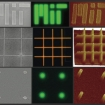 Images of nanopatterned films of nano crystalline material produced by the MIT research team. Each row shows a different pattern produced on films of either cadmium selenide (top and bottom) or a combination of zinc cadmium selenide and zinc cadmium sulfur (middle row). The three images in each row are made using different kinds of microscopes: left to right, scanning electron microscope, optical (showing real-color fluorescence), and atomic force microscope.