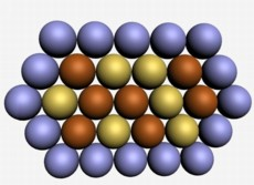 An illustration of the new IBN nanocomposite material which is composed of gold-copper alloy atoms in the core and platinum atoms at the outer layer.