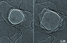 These are transmission electron microscope images of a nanopore in graphene. The original pore on the left grows considerably under the influence of the electron beam. The image on the right is the pore after four minutes at 800 �C.  Pores either shrink or grow depending on the temperature and electron beam irradiation.