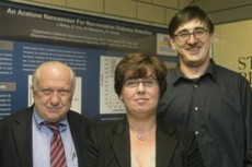 Stony Brook University researchers (from left to right) Sanford Simon, Perena Gouma and Milutin Stanacevic received a three year National Science Foundation grant for $599,763 to develop a personalized asthma monitor to detect and measure nitric oxide in breath.