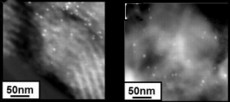 Heterogenized homogeneous nanocatalysts are sustainable as shown by these TEM images in which there is almost no difference in the cluster size of dendrimer-encapsulated gold nanoclusters (white spots) before (left) and after cyclopropanation reactions.