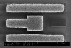 One of the sensors that has been fabricated using a thin layer of carbon nanotubes (CNTs) for electroding, in order to enhance sensitivity. The sensing area is the square at the centre. Credit: Luis Garcia-Gancedo