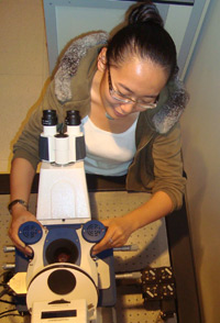 PhD student, Xinyue Chen, works with the JPK NanoWizard AFM system in the group of Dr Ralf Richter in San Sebastian.