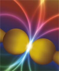 The image shows, in an artistic manner, the change in color when a quantum tunnel effect is produced in a subnanometric gap.