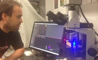 Dr Hector Peinado Selgas using his NanoSight LM-10 system at Weill Cornell Medical College, New York