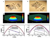 This shows fabricated lens images (a and d) and measured geometry surface profiles (b/c and e/f) of the aspheric anterior and posterior bio-inspired human eye GRIN lenses.