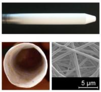 Fibers stick to a hard surface (top) and then can be removed to create a hollow ring (bottom left). Bottom right shows a closeup of the tiny fibers.