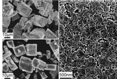 ORNL researchers developed a nanoporous solid electrolyte (bottom left and in detail on right) from a solvated precursor (top left). The material conducts ions 1,000 times faster than its natural bulk form and enables more energy-dense lithium ion batteries.