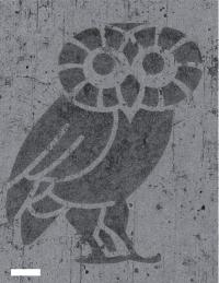 An atom-thick Rice Owl (scale bar equals 100 micrometers) was created to show the ability to make fine patterns in hybrid graphene/hexagonal boron nitride (hBN). In this image, the owl is hBN and the lighter material around it is graphene. The ability to pattern a conductor (graphene) and insulator (hBN) into a single layer may advance the ability to shrink electronic devices. (Credit: Zheng Liu/Rice University)