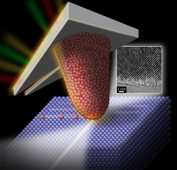 An illustration of a silicon AFM tip sliding over a diamond surface, with a TEM image of the tip inset. (Art: Felice Macera)