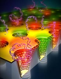This image shows a model of nano cup arrays.