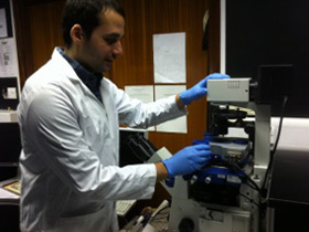 Faris Sinjab is a PhD student in the group of Dr Ioan Notingher is seen using the JPK NanoWizard� AFM system