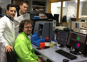 Adriele Prina-Mello, Kieran Staunton and Ciaran Maguire (members of the Nanomedicine group, Trinity College Dublin) with NanoSight's NS500 system.
