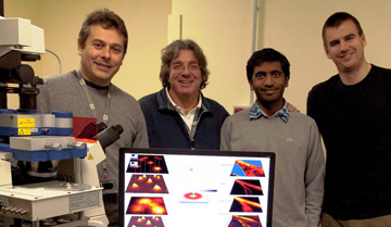 Dr Claudio Canale, Professor Alberto Diaspro, Jenu Chacko-Varghese and Dr Benjamin Harke - the group to have coupled STED and AFM at the Department of Nanophyiscs, IIT, Genova.