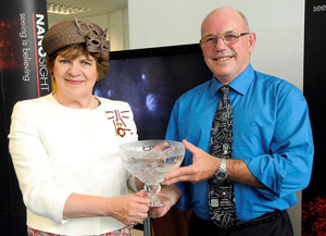 Mrs Sarah Troughton, Lord-Lieutenant of Wiltshire, presenting NanoSight CTO, Bob Carr, with the Queen's Award for Enterprise: International Trade 2012