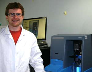 Dr Devin Wiley of Caltech with the NanoSight NS500 NTA system