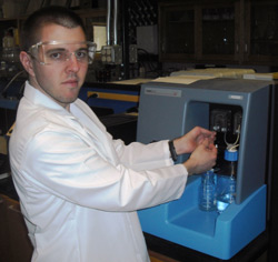 Erik Pfeiffer, a graduate student in the Brant Group, using a NanoSight NS500 at the University of Wyoming