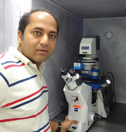 Professor Shivprasad Patil of IISER, India, with his JPK NanoWizard AFM system