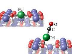 The Pd atom on the surface (top) is lifted up by the CO-molecule, allowing it to diffuse.